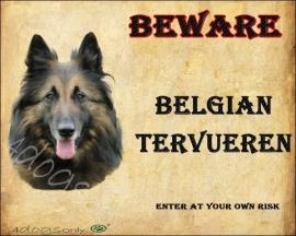 Waakbord Belgian Tervueren / Tervuerense Herder (Engels) Per set van 2 waakborden UITVERKOCHT