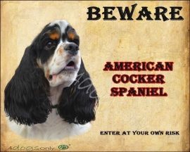 Waakbord Amerikaanse Cocker Spaniel Bont 3 kleuren (Engels). OP=OP