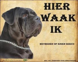 Waakbord Cane Corso Zwart (Nederlands) per set van 2 waakborden UITVERKOCHT