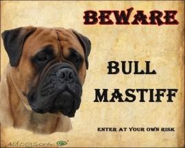 waakbord bull mastiff fawn nr 2 Per set van 2 waakborden UITVERKOCHT