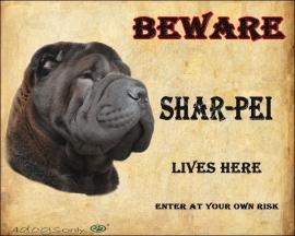 Waakbord Shar-Pei zwart. Per set van 2 waakborden
