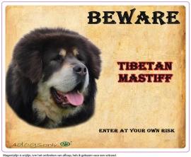 Waakbord Tibetan Mastiff Zwart (Engels)  (UITVERKOCHT)