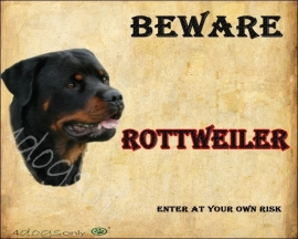 Waakbord Rottweiler (Engels). Per set van 2 waakborden UITVERKOCHT