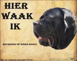 Waakbord Cane Corso zwart  (03) (Nederlands)  (bek open) UITVERKOCHT