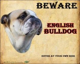 Waakbord Engelse Bulldog / English Bulldog  (Engels). Per set van 2 waakborden