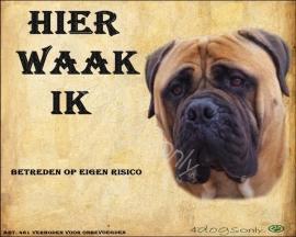 Waakbord Bull Mastiff Fawn (Nederlands). Per set van 2 waakborden OP=OP