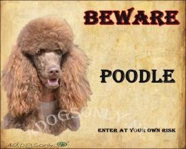 Waakbord Poedel/Poodle  bruin. Per set van 2 waakborden UITVERKOCHT