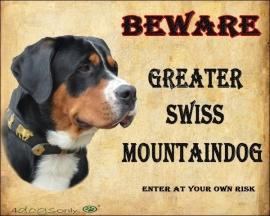Waakbord Great Swiss Mountain Dog / Grote zwitserse Senner hond. OP=OP