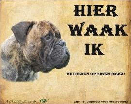 Waakbord Bull Mastiff (01) (Nederlands). Per set van 2 waakborden UITVERKOCHT