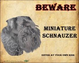 Waakbord Miniature Schnauzer Black / Dwerg Schnauzer Zwart (Engels) UITVERKOCHT