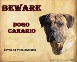 Waakbord Perro de Presa Canario / Dogo Canario (Engels). Per set van 2 waakborden UITVERKOCHT
