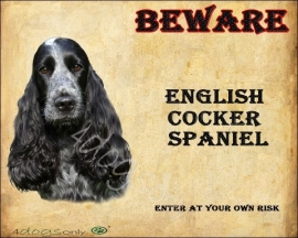 Waakbord Engelse Cocker Spaniel Zwart(Engels) UITVERKOCHT