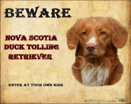 Waakbord Nova Scotia Duck Tolling Retriever / Toller (Engels). Per set van 2 waakborden