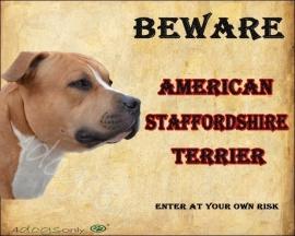 Waakbord American Staffordshire Terrier Rood.OP=OP