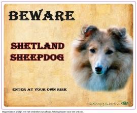 Waakbord Shetland Sheepdog/ Sheltie Sable (Engels) OP=OP