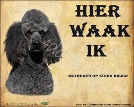 Waakbord Poedel Grijs (Nederlands). OP=OP