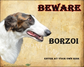 Waakbord Borzoi / Barzoi gestroomd  OP=OP
