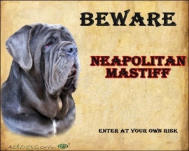 Waakbord Mastino Napolitano (Engels). Per set van  2 waakborden UITVERKOCHT