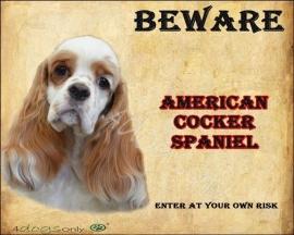 Waakbord Amerikaanse Cocker Spaniel Bont Rood Wit (Engels).UITVERKOCHT
