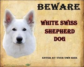 Waakbord Witte Herder / White Swiss Sheperd Dog (Engels).OP=OP