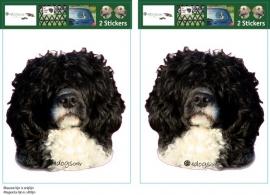 Portugese Water hond zwart.wit /  Portuguese Water Dog black and white setje 2 stuks UITVERKOCHT