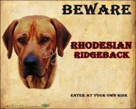 Waakbord Rhodesian Ridgeback (Engels). Per set van 2 waakborden UITVERKOCHT