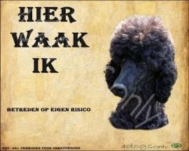 Waakbord Poedel Zwart (Nederlands). Per set van 2 waakborden   UITVERKOCHT