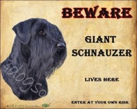 Waakbord Riesenschnauzer / Giant Schnauzer Engels. OP=OP