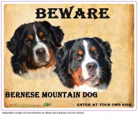 Waakbord Bernese Mountain Dog / Berner Senner Dubbele kop (Engels) per set van 2 waakborden UITVERKOCHT