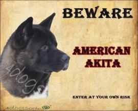 Waakbord American Akita Zwart Engels (UITVERKOCHT)