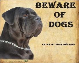 Waakbord Cane Corso zwart (Engels) (Dogs) OP=OP