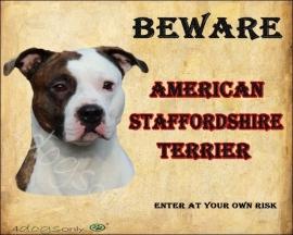 Waakbord American Staffordshire Terrier Gestroomd UITVERKOCHT