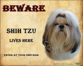 Waakbord Shih Tzu (Engels) per set van 2 waakborden