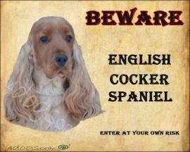 Waakbord Engelse Cocker Spaniel Rood (Engels) OP=OP