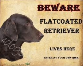 waakbord Flat Coated Retriever Bruin. Per set van 2 waakborden UITVERKOCHT