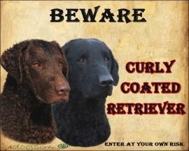 Waakbord Curly Coated Retriever  Dubbel Bruin/Zwart. Per set van 2 waakborden UITVERKOCHT