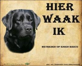 Waakbord Labrador Retriever Zwart. OP=OP