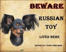 waakbord Russian Toy Black and Tan. Per set van 2 waakborden