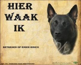 Waakbord Mechelse Herder (Nederlands). Per set van 2 waakborden UITVERKOCHT