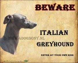 Waakbord Italian Greyhound. OP=OP