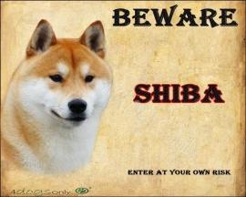 Waakbord Shiba Inu / Shiba (Engels) Per set van 2 waakborden UITVERKOCHT
