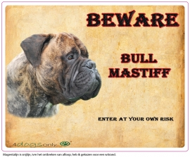 Waakbord Bull Mastiff Gestroomd (Engels) per set van 2 waakborden UITVERKOCHT