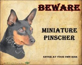 Waakbord Miniature Pinscher Black & Tan / Dwerg Pinscher (Engels). Per set van 2 waakborden UITVERKOCHT