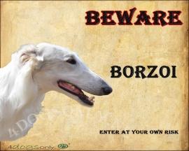 Waakbord Borzoi / Barzoi wit . OP=OP