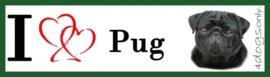 I LOVE pug / mopshond zwart OP=OP