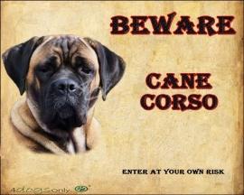Waakbord Cane Corso Fawn (Engels). Per set van 2 waakborden