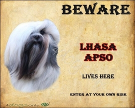 Waakbord Lhasa Apso (Engels). Per set van 2 waakborden UITVERKOCHT