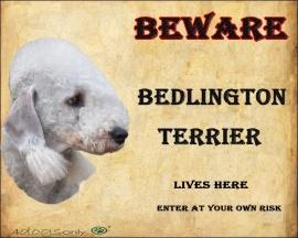 Waakbord Bedlington Terrier Grijs. OP=OP