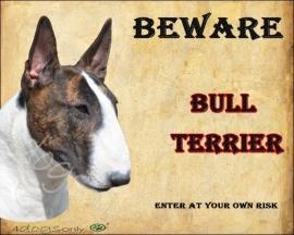 Waakbord Bull Terrier Gestroomd Per set van 2 waakborden UITVERKOCHT