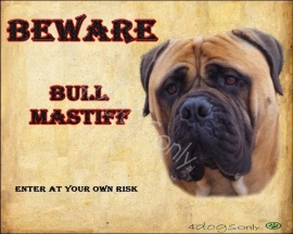 Waakbord Bull Mastiff Fawn (Engels). Per set van 2 waakborden UITVEKOCHT